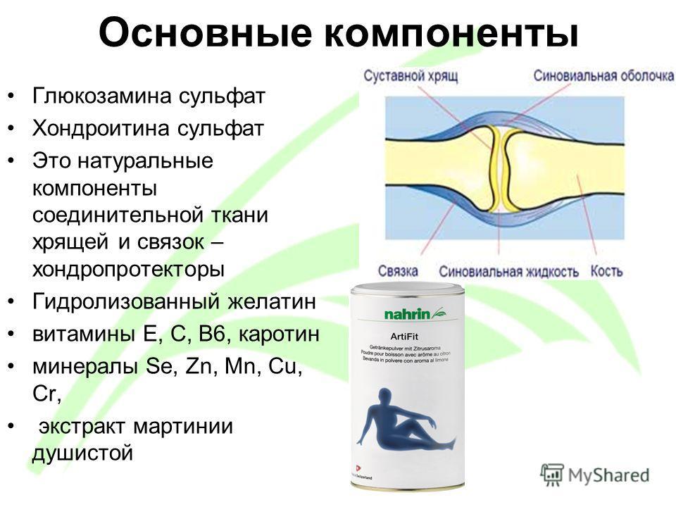 Основные компоненты Глюкозамина сульфат Хондроитина сульфат Это натуральные компоненты соединительной ткани хрящей и связок – хондропротекторы Гидролизованный желатин витамины Е, С, B6, каротин минералы Se, Zn, Mn, Cu, Cr, экстракт мартинии душистой