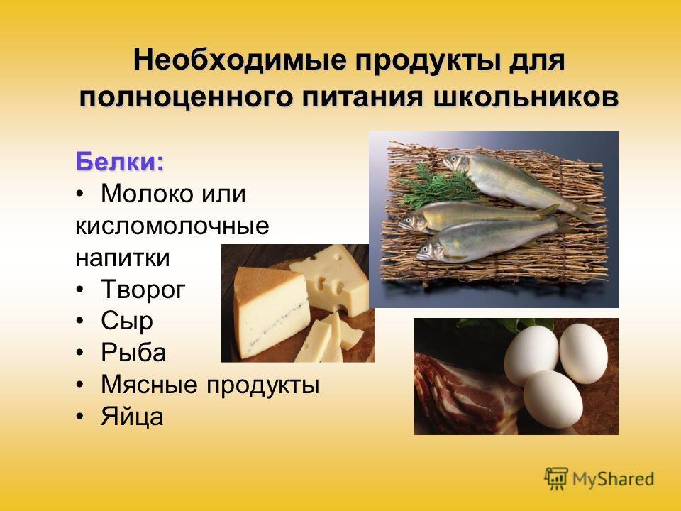 Необходимые продукты для полноценного питания школьников Белки: Молоко или кисломолочные напитки Творог Сыр Рыба Мясные продукты Яйца