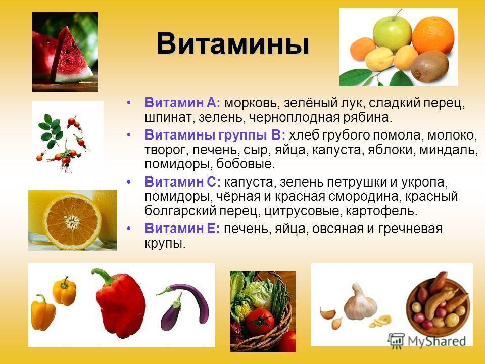 Витамины Витамин А: морковь, зелёный лук, сладкий перец, шпинат, зелень, черноплодная рябина. Витамины группы В: хлеб грубого помола, молоко, творог, печень, сыр, яйца, капуста, яблоки, миндаль, помидоры, бобовые. Витамин С: капуста, зелень петрушки