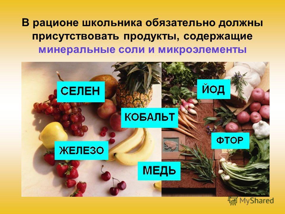 В рационе школьника обязательно должны присутствовать продукты, содержащие минеральные соли и микроэлементы