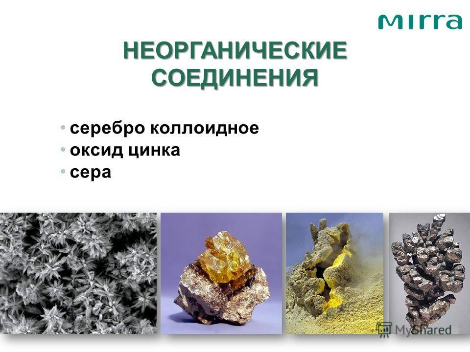 НЕОРГАНИЧЕСКИЕ СОЕДИНЕНИЯ серебро коллоидное оксид цинка сера