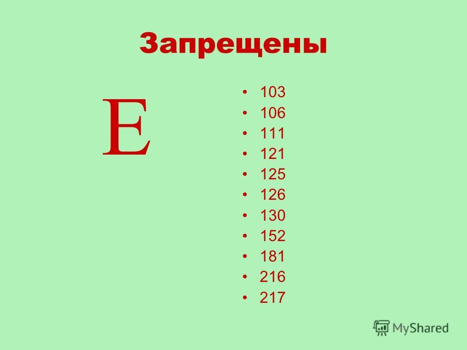 Запрещены Е 103 106 111 121 125 126 130 152 181 216 217