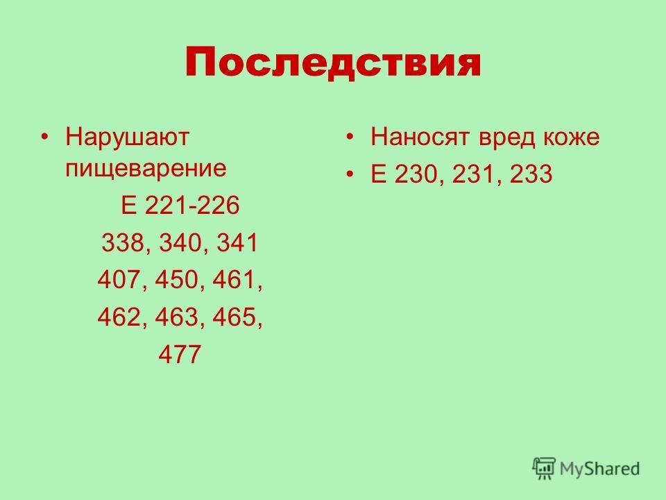 Последствия Нарушают пищеварение Е 221-226 338, 340, 341 407, 450, 461, 462, 463, 465, 477 Наносят вред коже Е 230, 231, 233