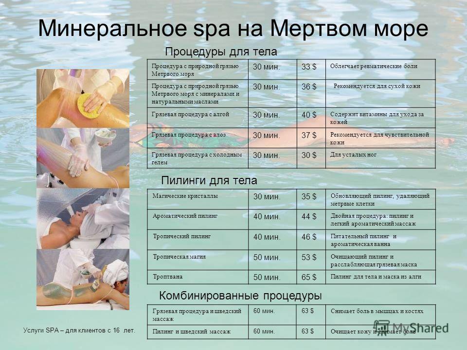 Минеральное spa на Мертвом море Процедура с природной грязью Метрвого моря 30 мин.33 $ Облегчает ревматические боли Процедура с природной грязью Метрвого моря с минералами и натуральными маслами 30 мин.36 $ Рекомендуется для сухой кожи Грязевая проце