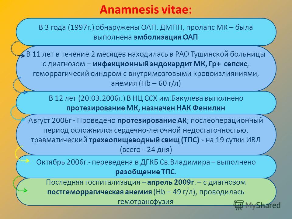 Anamnesis vitae: В 3 года (1997г.) обнаружены ОАП, ДМПП, пролапс МК – была выполнена эмболизация ОАП В 11 лет в течение 2 месяцев находилась в РАО Тушинской больницы с диагнозом – инфекционный эндокардит МК, Гр+ сепсис, геморрагичесий синдром с внутр