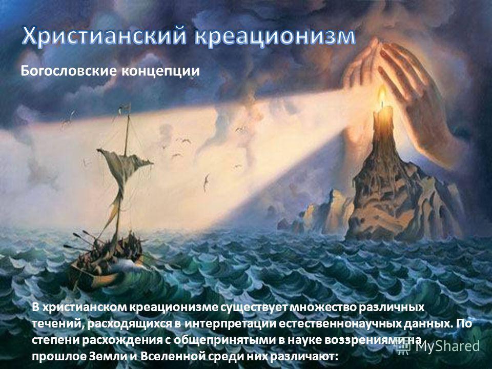 Богословские концепции В христианском креационизме существует множество различных течений, расходящихся в интерпретации естественнонаучных данных. По степени расхождения с общепринятыми в науке воззрениями на прошлое Земли и Вселенной среди них разли