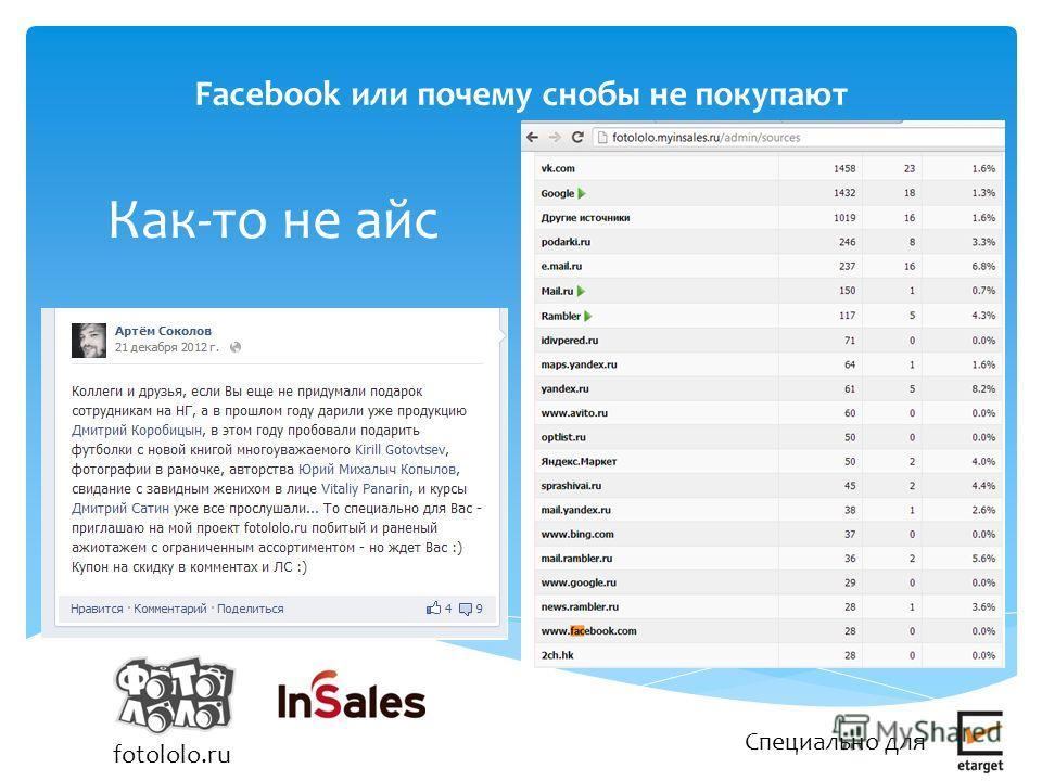 Facebook или почему снобы не покупают Специально для fotololo.ru Актуальность Как-то не айс