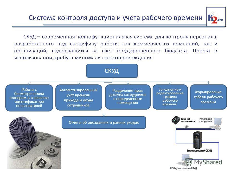 Система контроля доступа и учета рабочего времени СКУД – современная полнофункциональная система для контроля персонала, разработанного под специфику работы как коммерческих компаний, так и организаций, содержащихся за счет государственного бюджета.