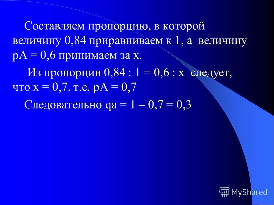 В результате браковки всех рецессивных гомозигот популяция сокращается до величины 0,84, т.к. 1 – 0,16 = 0,84, причем уменьшение произошло за счет рецессивных генов. Следовательно соотношение между pA и qa изменилось в сторону увеличения pA. Для опре