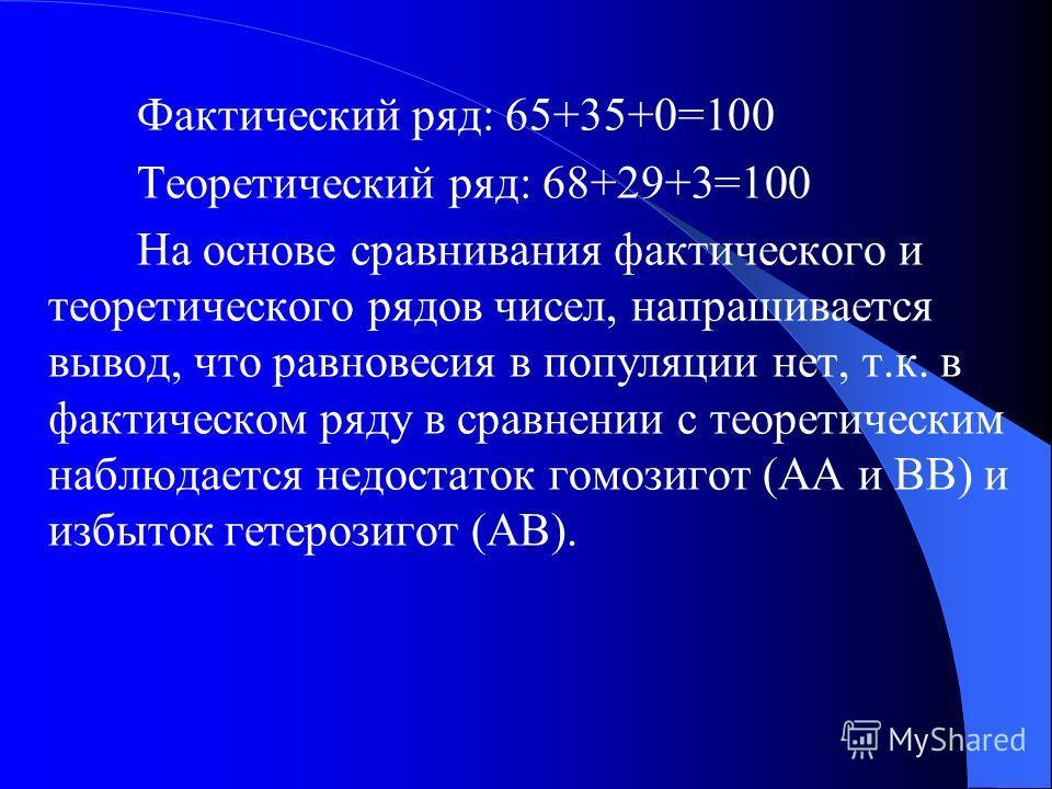 Теоретические частоты в соответствии с законом Харди-Вайнберга должны иметь следующие значения: p 2 AA + 2pqAВ + q 2 ВВ = 1 0,825 2 + 2×0,825×0,175 + 0,175 2 = 1 0,68 + 0,29+ 0,03 или 68 + 29 + 3 = 100