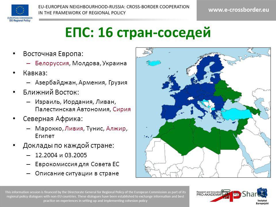 ЕПС: 16 стран-соседей Восточная Европа: – Белоруссия, Молдова, Украина Кавказ: – Азербайджан, Армения, Грузия Ближний Восток: – Израиль, Иордания, Ливан, Палестинская Автономия, Сирия Северная Африка: – Марокко, Ливия, Тунис, Алжир, Египет Доклады по