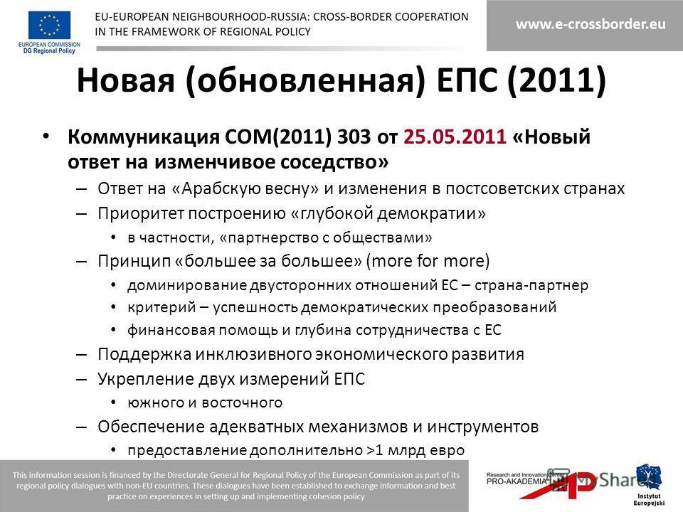 Новая (обновленная) ЕПС (2011) Коммуникация COM(2011) 303 от 25.05.2011 «Новый ответ на изменчивое соседство» – Ответ на «Арабскую весну» и изменения в постсоветских странах – Приоритет построению «глубокой демократии» в частности, «партнерство с общ