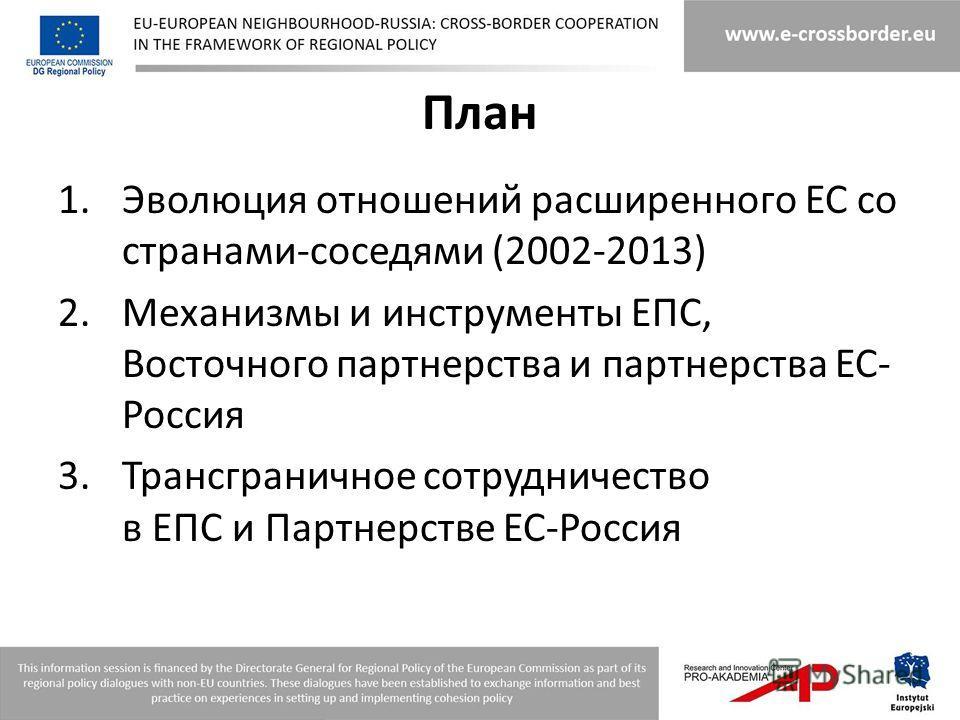 План 1.Эволюция отношений расширенного ЕС со странами-соседями (2002-2013) 2.Механизмы и инструменты ЕПС, Восточного партнерства и партнерства ЕС- Россия 3.Трансграничное сотрудничество в ЕПС и Партнерстве ЕС-Россия