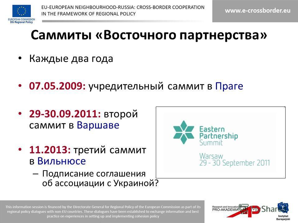 Саммиты «Восточного партнерства» Каждые два года 07.05.2009: учредительный саммит в Праге 29-30.09.2011: второй саммит в Варшаве 11.2013: третий саммит в Вильнюсе – Подписание соглашения об ассоциации с Украиной?