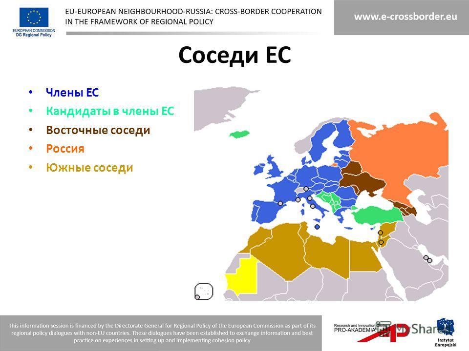 Соседи ЕС Члены ЕС Кандидаты в члены ЕС Восточные соседи Россия Южные соседи