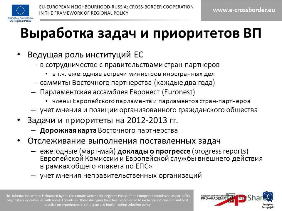 Выработка задач и приоритетов ВП Ведущая роль институций ЕС – в сотрудничестве с правительствами стран-партнеров в т.ч. ежегодные встречи министров иностранных дел – саммиты Восточного партнерства (каждые два года) – Парламентская ассамблея Евронест