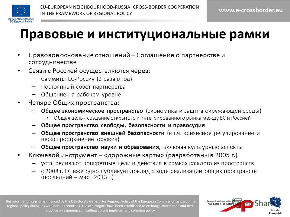 Правовые и институциональные рамки Правовое основание отношений – Соглашение о партнерстве и сотрудничестве Связи с Россией осуществляются через: – Саммиты ЕС-Россия (2 раза в год) – Постоянный совет партнерства – Общение на рабочем уровне Четыре Общ