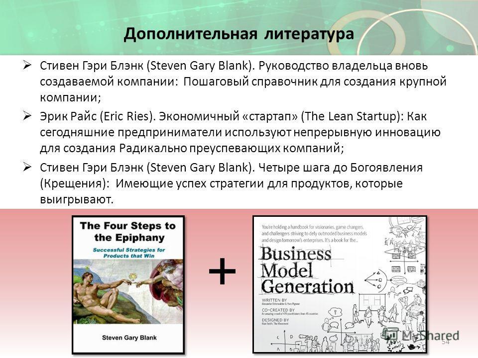 Дополнительная литература Стивен Гэри Блэнк (Steven Gary Blank). Руководство владельца вновь создаваемой компании: Пошаговый справочник для создания крупной компании; Эрик Райс (Eric Ries). Экономичный «стартап» (The Lean Startup): Как сегодняшние пр