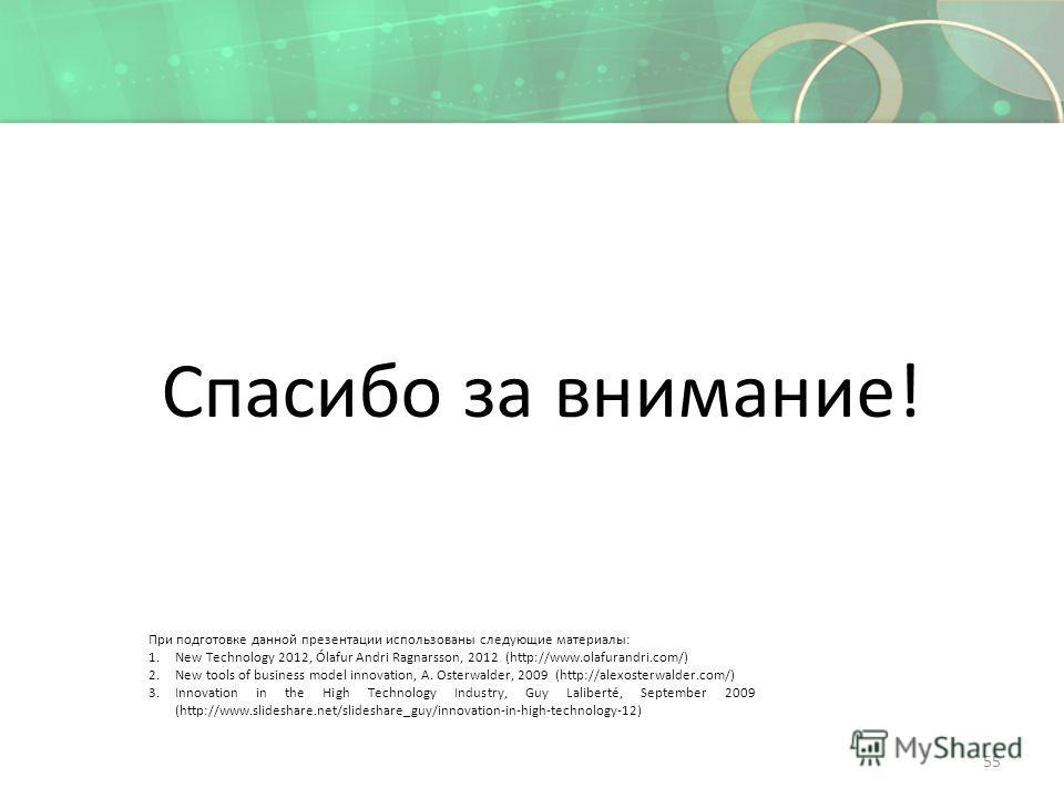 Спасибо за внимание! 55 При подготовке данной презентации использованы следующие материалы: 1.New Technology 2012, Ólafur Andri Ragnarsson, 2012 (http://www.olafurandri.com/) 2.New tools of business model innovation, A. Osterwalder, 2009 (http://alex