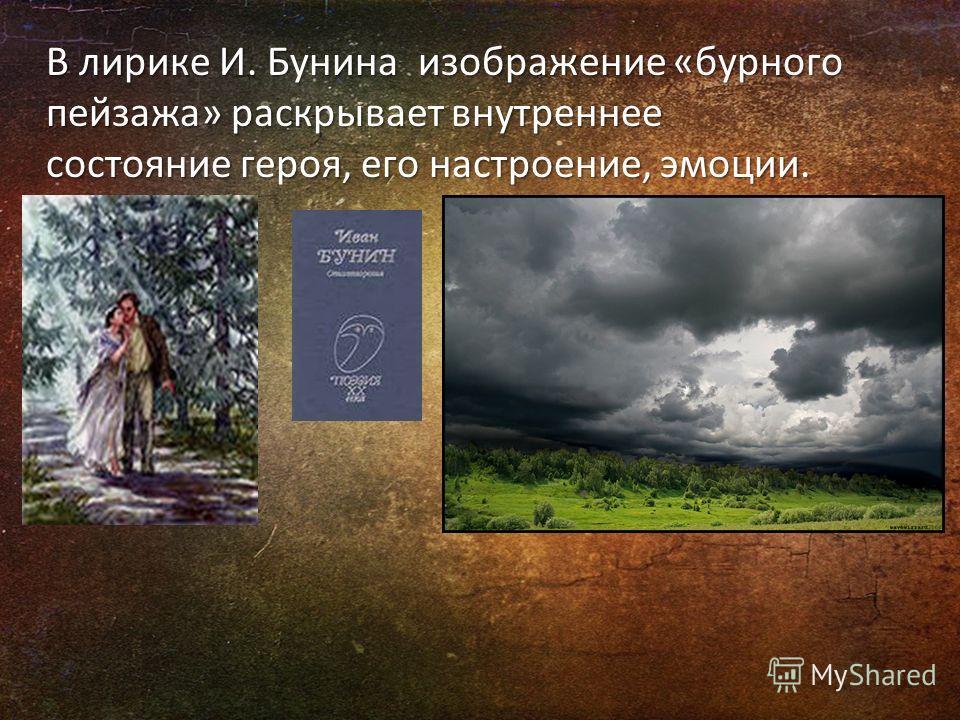 В лирике И. Бунина изображение «бурного пейзажа» раскрывает внутреннее состояние героя, его настроение, эмоции.