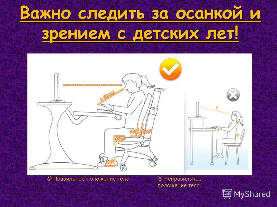 Важно следить за осанкой и зрением с детских лет! Правильное положение тела Неправильное положение тела