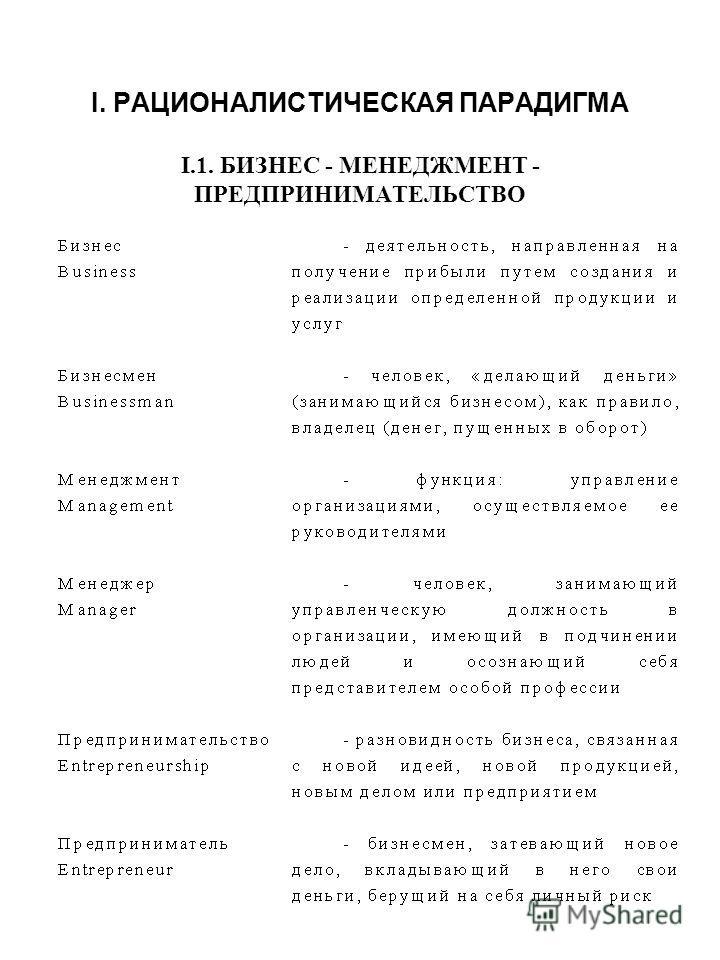 I. РАЦИОНАЛИСТИЧЕСКАЯ ПАРАДИГМА I.1. БИЗНЕС - МЕНЕДЖМЕНТ - ПРЕДПРИНИМАТЕЛЬСТВО