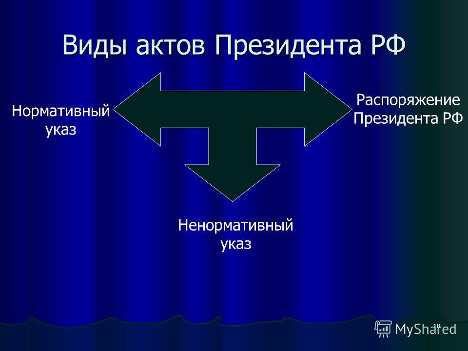 18 Виды актов Президента РФ Нормативный указ Ненормативный указ Распоряжение Президента РФ
