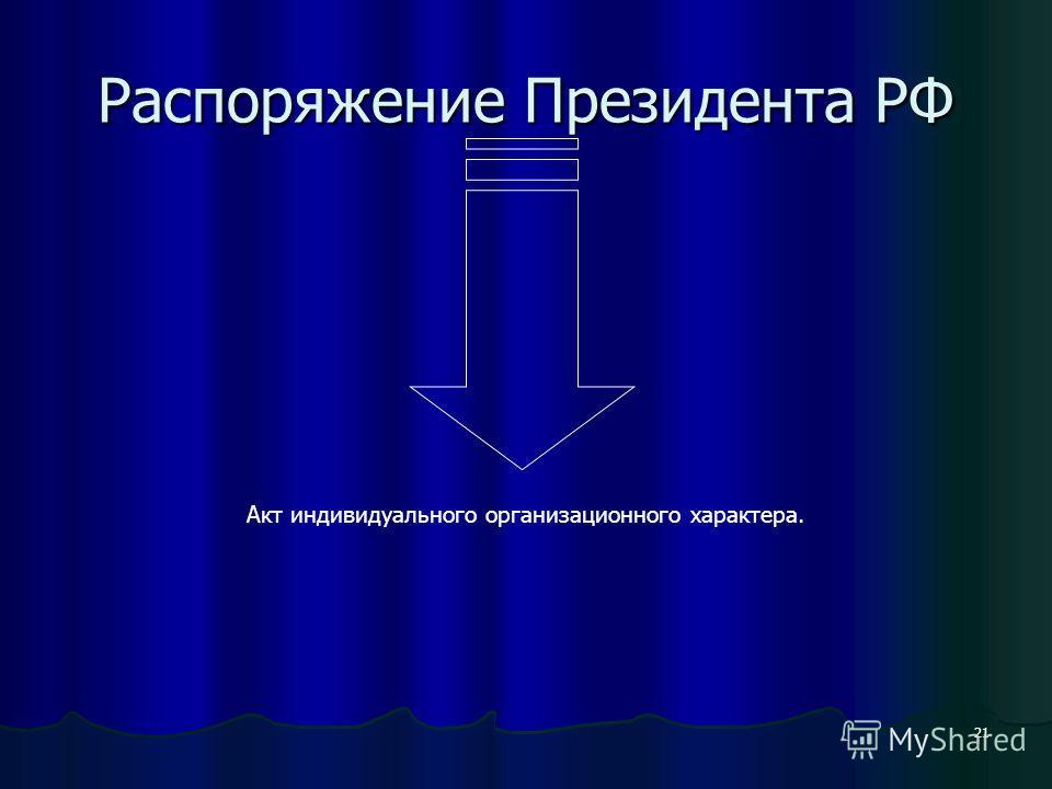 21 Распоряжение Президента РФ Акт индивидуального организационного характера.