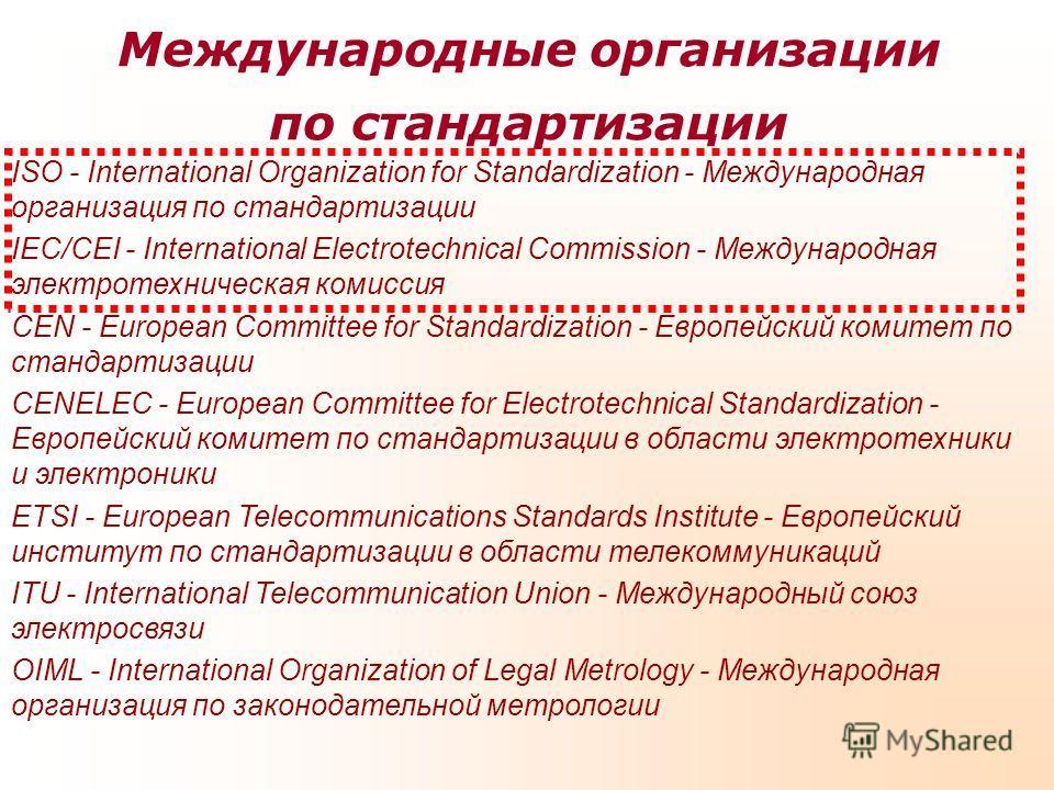 Международные организации по стандартизации ISO - International Organization for Standardization - Международная организация по стандартизации IEC/CEI - International Electrotechnical Commission - Международная электротехническая комиссия CEN - Europ