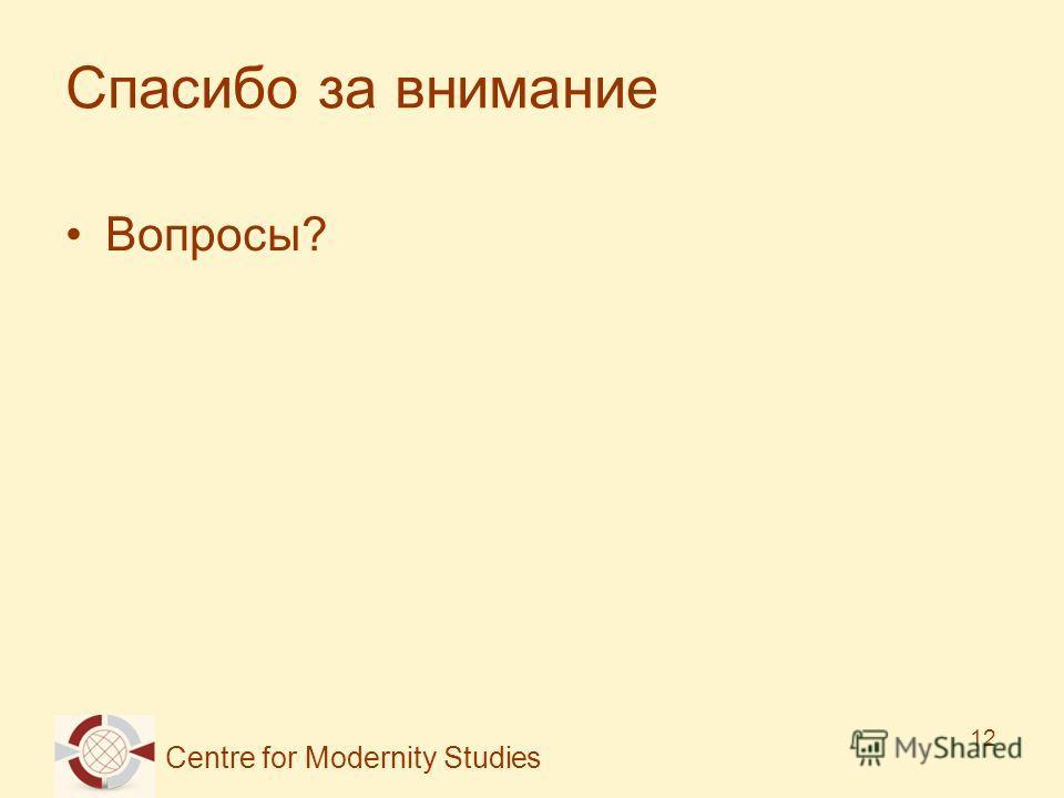 Centre for Modernity Studies 12 Спасибо за внимание Вопросы?