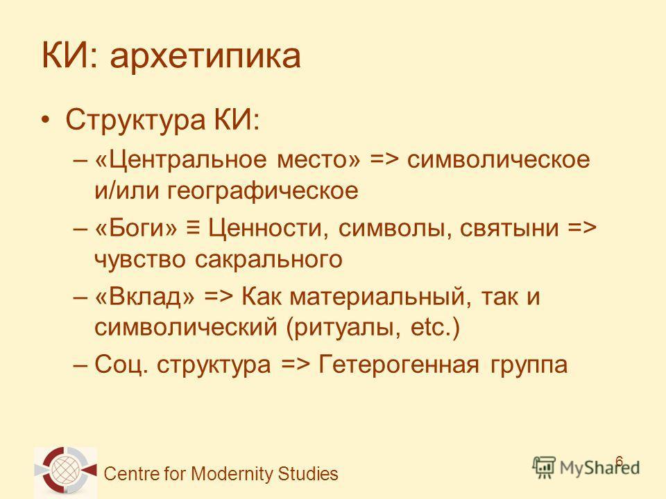 Centre for Modernity Studies 6 КИ: архетипика Структура КИ: –«Центральное место» => символическое и/или географическое –«Боги» Ценности, символы, святыни => чувство сакрального –«Вклад» => Как материальный, так и символический (ритуалы, etc.) –Соц. с