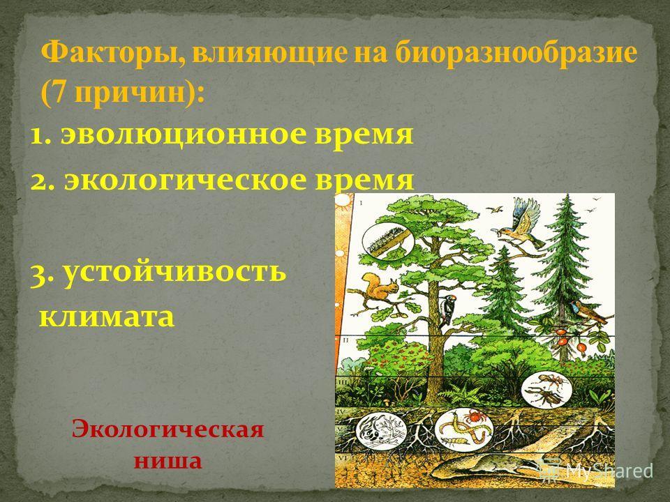 1. эволюционное время 2. экологическое время 3. устойчивость климата Экологическая ниша