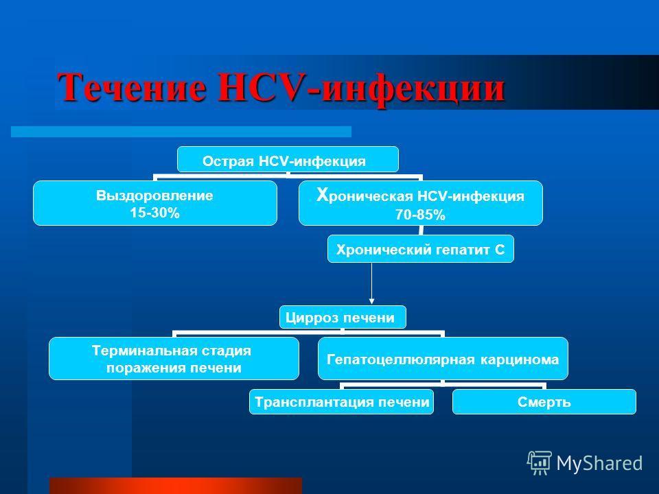Течение HCV-инфекции Цирроз печени Терминальная стадия поражения печени Гепатоцеллюлярная карцинома Трансплантация печени Смерть Острая HCV- инфекция Выздоровление 15-30% Хроническая HCV-инфекция 70-85% Хронический гепатит С