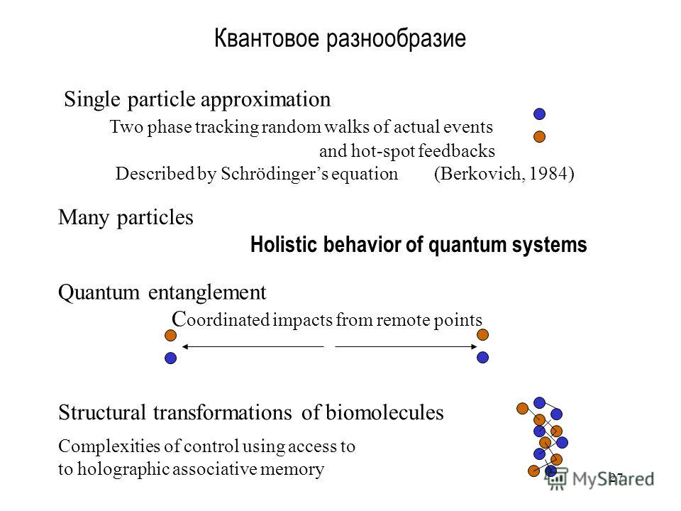27 Квантовое разнообразие Single particle approximation Two phase tracking random walks of actual events and hot-spot feedbacks Described by Schrödingers equation (Berkovich, 1984) Quantum entanglement C oordinated impacts from remote points Structur