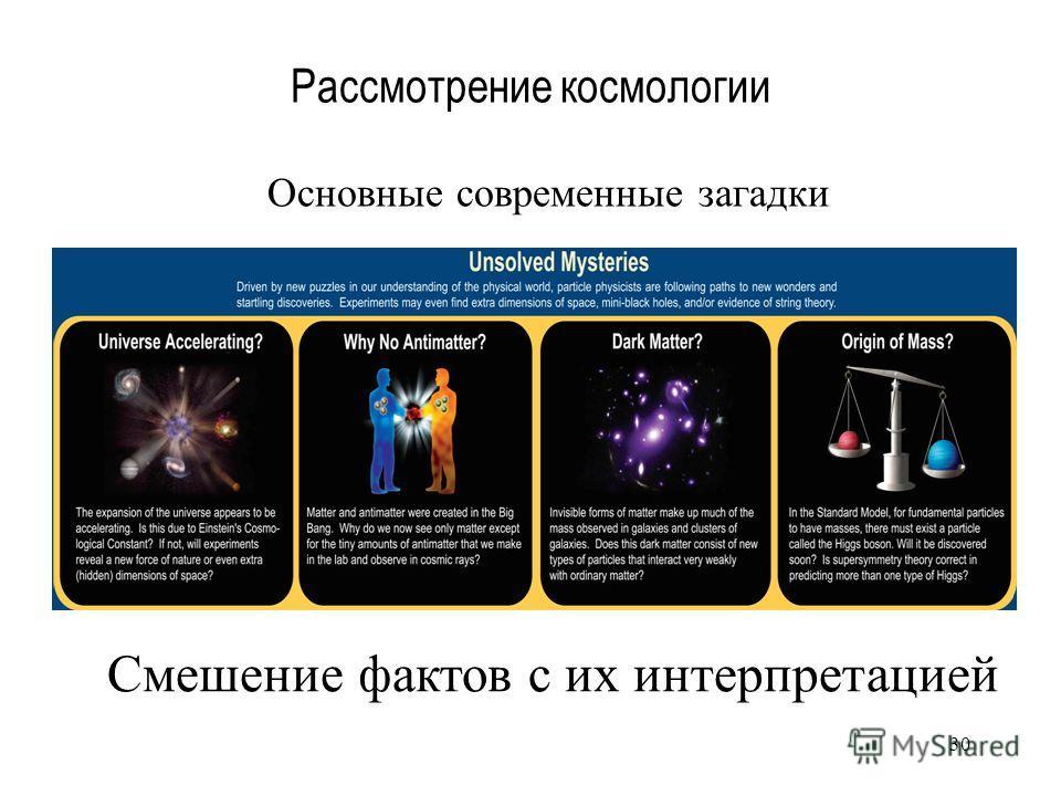 30 Рассмотрение космологии Смешение фактов с их интерпретацией Основные современные загадки