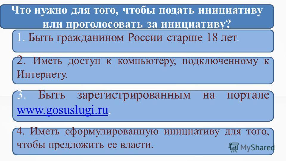 Что нужно для того, чтобы подать инициативу или проголосовать за инициативу? 1. Быть гражданином России старше 18 лет. 3. Быть зарегистрированным на портале www.gosuslugi.ru. www.gosuslugi.ru 2. Иметь доступ к компьютеру, подключенному к Интернету. 4