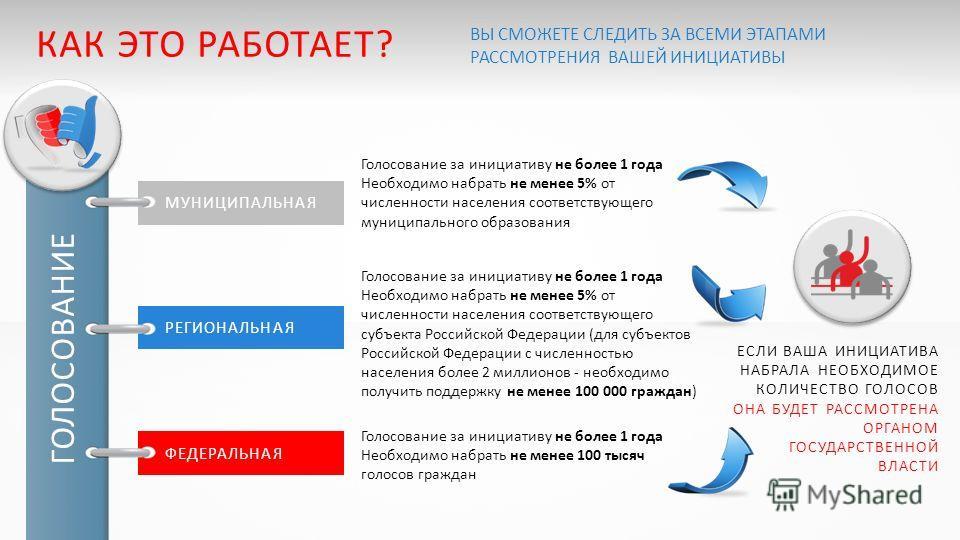 Голосование за инициативу не более 1 года Необходимо набрать не менее 100 тысяч голосов граждан Голосование за инициативу не более 1 года Необходимо набрать не менее 5% от численности населения соответствующего субъекта Российской Федерации (для субъ