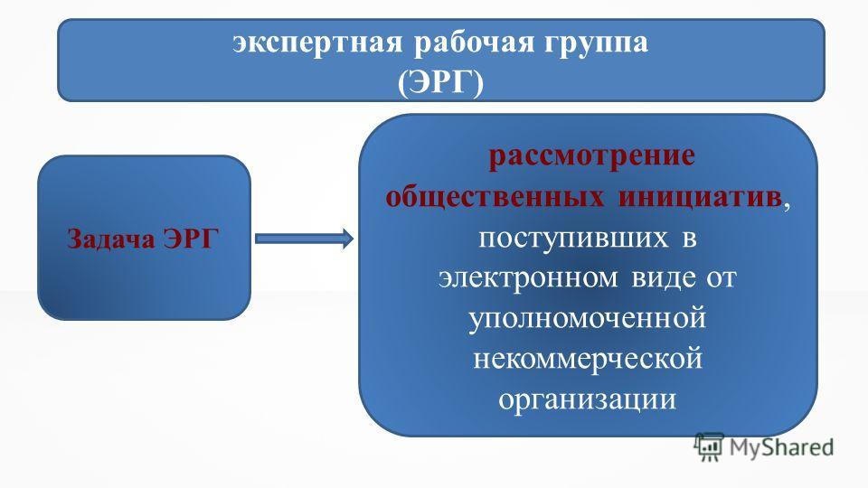 экспертная рабочая группа (ЭРГ) Задача ЭРГ рассмотрение общественных инициатив, поступивших в электронном виде от уполномоченной некоммерческой организации