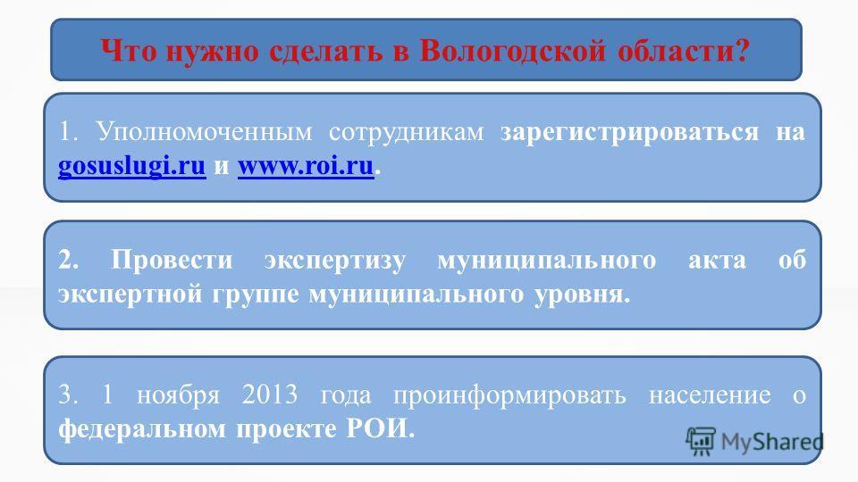 Что нужно сделать в Вологодской области? 1. Уполномоченным сотрудникам зарегистрироваться на gosuslugi.ru и www.roi.ru. gosuslugi.ruwww.roi.ru 3. 1 ноября 2013 года проинформировать население о федеральном проекте РОИ. 2. Провести экспертизу муниципа