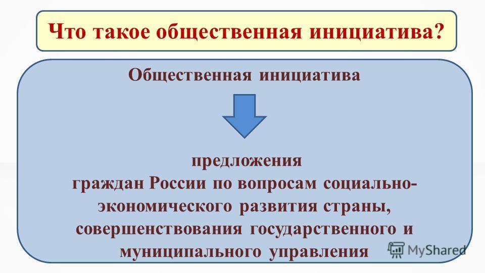 Что такое общественная инициатива? Общественная инициатива предложения граждан России по вопросам социально- экономического развития страны, совершенствования государственного и муниципального управления