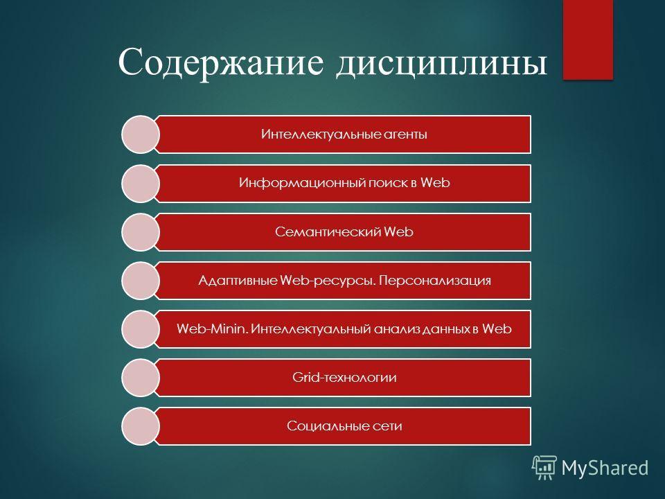 Содержание дисциплины Интеллектуальные агенты Информационный поиск в Web Семантический Web Адаптивные Web-ресурсы. Персонализация Web-Minin. Интеллектуальный анализ данных в Web Grid-технологии Социальные сети