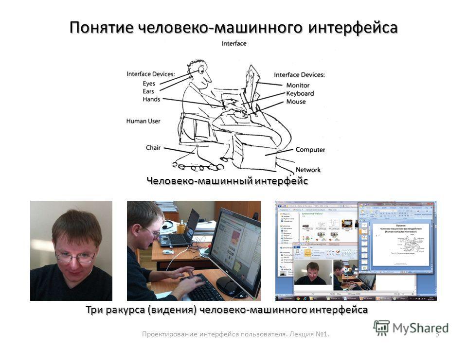Проектирование интерфейса пользователя. Лекция 1.3 Понятие человеко-машинного интерфейса Человеко-машинный интерфейс Три ракурса (видения) человеко-машинного интерфейса