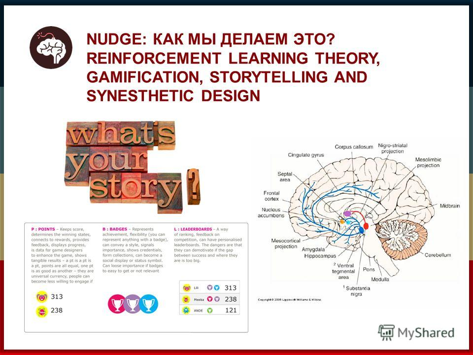 NUDGE: КАК МЫ ДЕЛАЕМ ЭТО? REINFORCEMENT LEARNING THEORY, GAMIFICATION, STORYTELLING AND SYNESTHETIC DESIGN