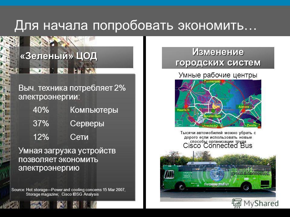 Для начала попробовать экономить… «Зеленый» ЦОД Выч. техника потребляет 2% электроэнергии: 40%Компьютеры 37%Серверы 12%Сети Умная загрузка устройств позволяет экономить электроэнергию Source: Hot storagePower and cooling concerns 15 Mar 2007, Storage