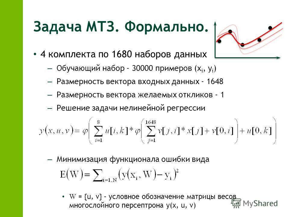 Задача МТЗ. Формально. 4 комплекта по 1680 наборов данных – Обучающий набор - 30000 примеров (x i, y i ) – Размерность вектора входных данных - 1648 – Размерность вектора желаемых откликов - 1 – Решение задачи нелинейной регрессии – Минимизация функц