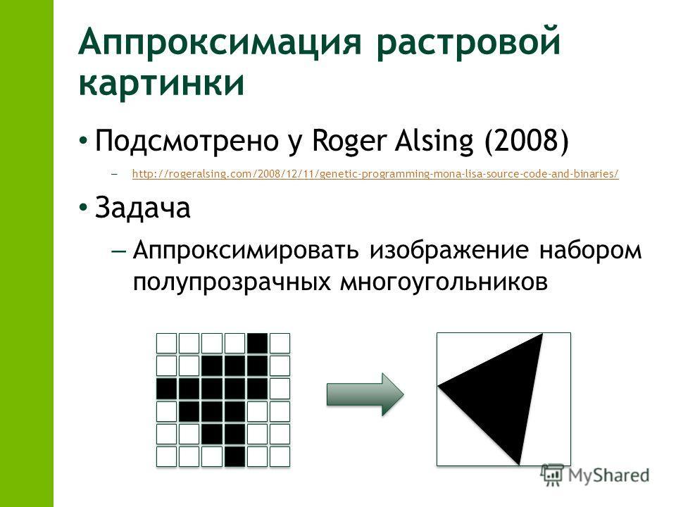 Аппроксимация растровой картинки Подсмотрено у Roger Alsing (2008) – http://rogeralsing.com/2008/12/11/genetic-programming-mona-lisa-source-code-and-binaries/ http://rogeralsing.com/2008/12/11/genetic-programming-mona-lisa-source-code-and-binaries/ З