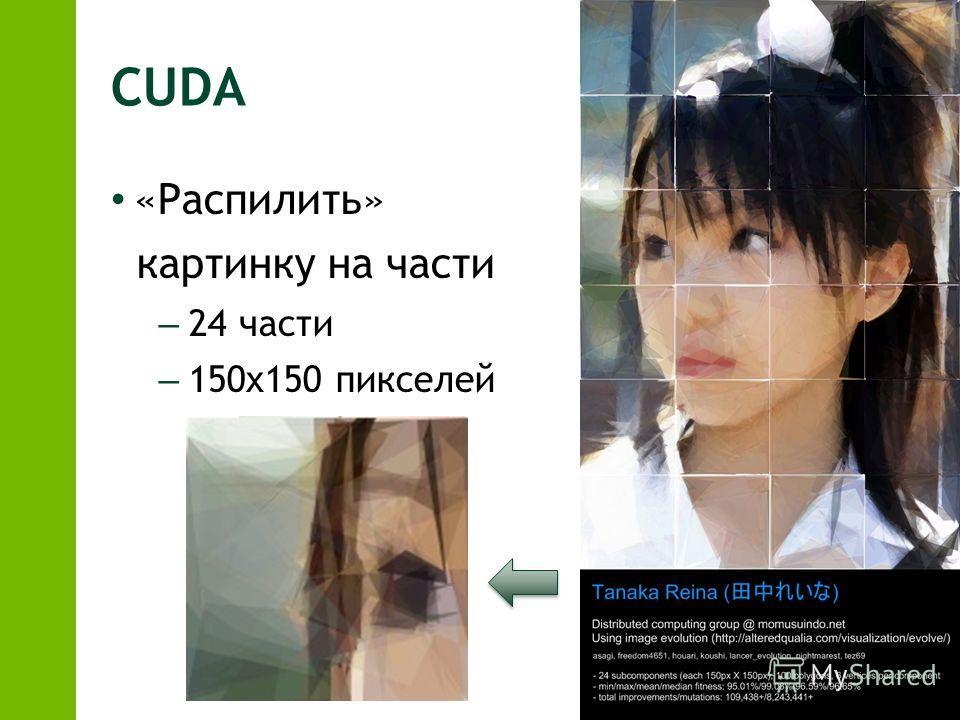 CUDA «Распилить» картинку на части – 24 части – 150х150 пикселей