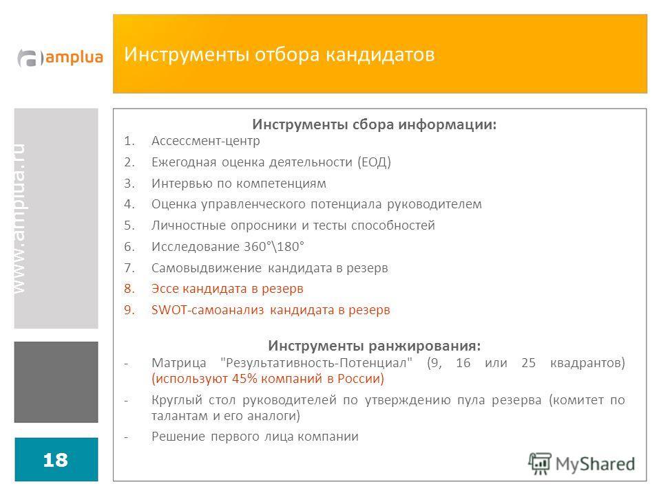 www.amplua.ru 18 Инструменты отбора кандидатов Инструменты сбора информации: 1.Ассессмент-центр 2.Ежегодная оценка деятельности (ЕОД) 3.Интервью по компетенциям 4.Оценка управленческого потенциала руководителем 5.Личностные опросники и тесты способно