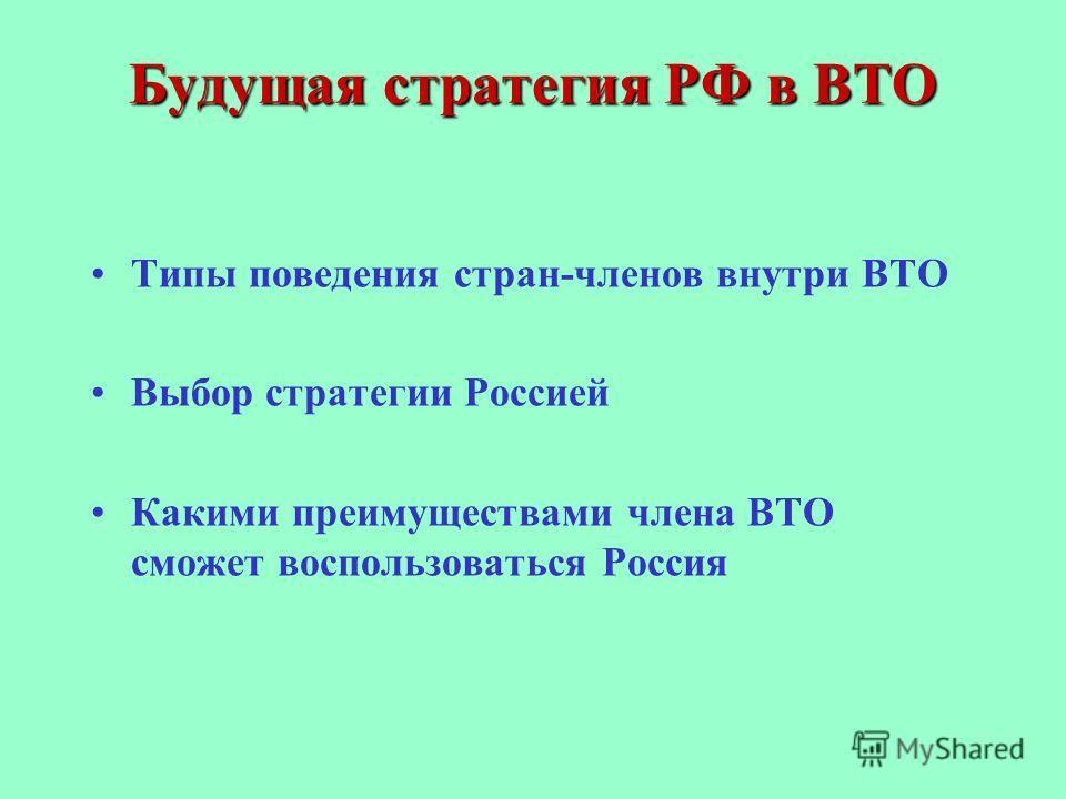 Будущая стратегия РФ в ВТО Типы поведения стран-членов внутри ВТО Выбор стратегии Россией Какими преимуществами члена ВТО сможет воспользоваться Россия