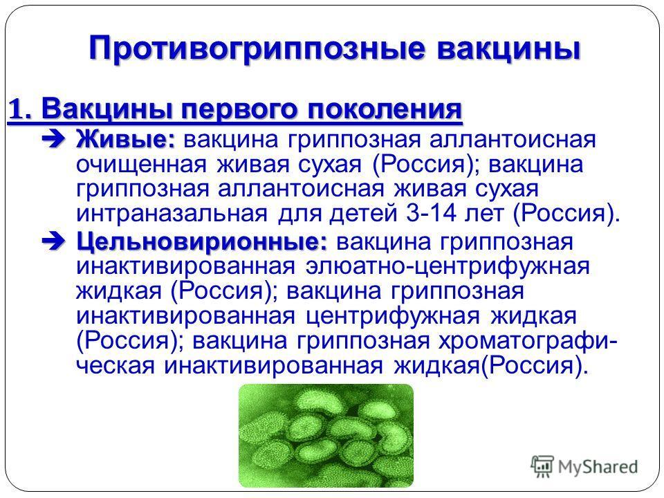 Противогриппозные вакцины 1. Вакцины первого поколения Живые: Живые: вакцина гриппозная аллантоисная очищенная живая сухая (Россия); вакцина гриппозная аллантоисная живая сухая интраназальная для детей 3-14 лет (Россия). Цельновирионные: Цельновирион